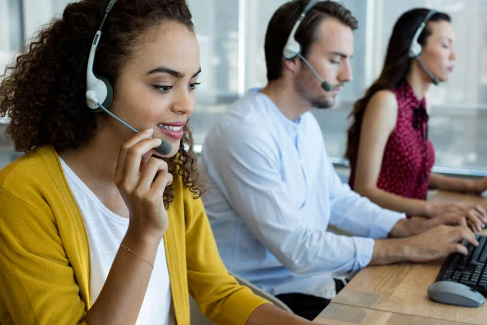 Young workers in a successful call center