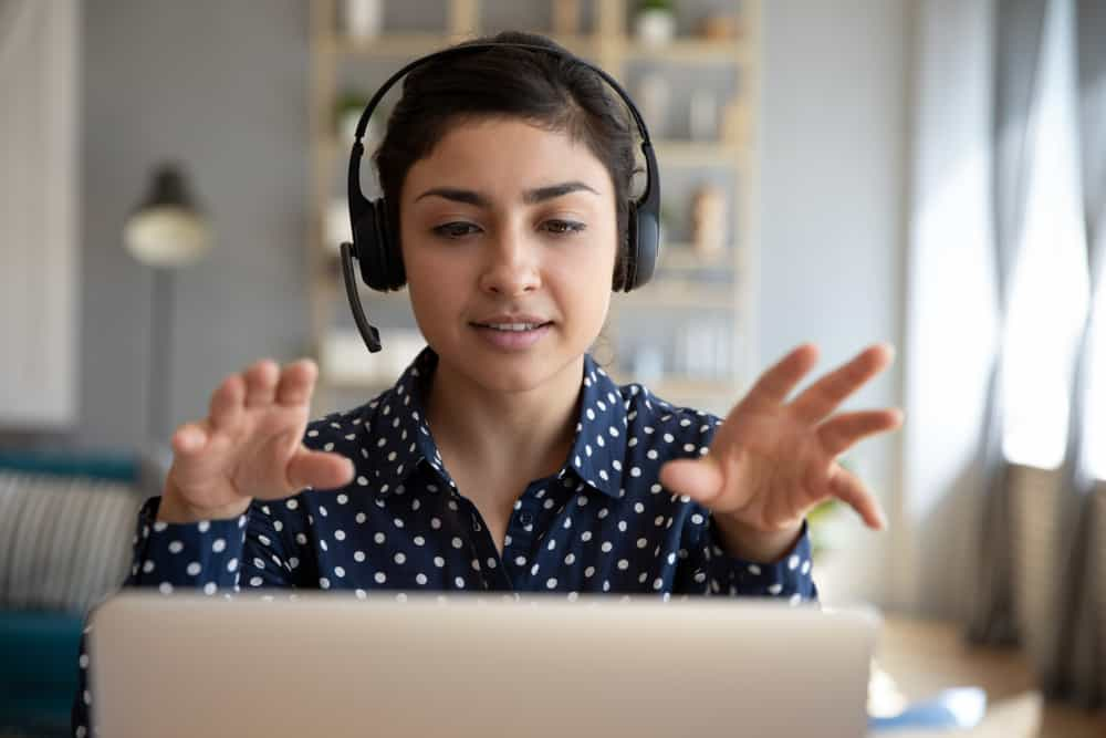 Young woman providing remote customer service
